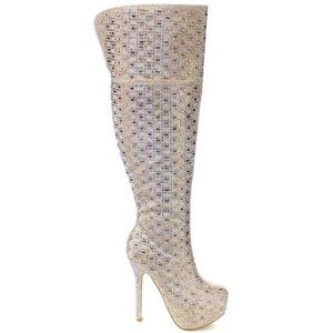 Bella Luna Glitter Rhinestone Knee High Boots